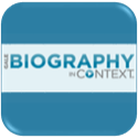 button for biography in context database
