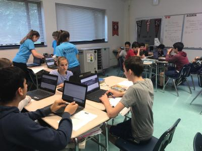 Students working in groups at computers