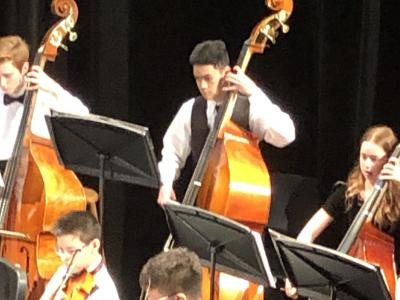 Students playing bass cello